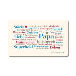 Frühstücksbrettchen mit den schönsten Papa Wörtern.
