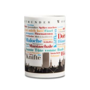 Kaffeebecher Dortmunder Wörter frontal.