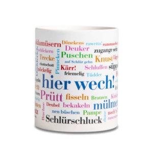 Der Kaffeebecher mit den Lippischen Wörtern.