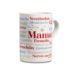 Der Kaffeebecher mit den schönsten Wörtern einer Mama.