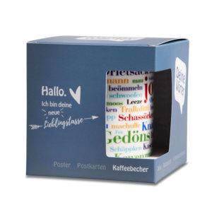 Die Kaffeetasse Münsterländer Wörtern liebevoll verpackt.