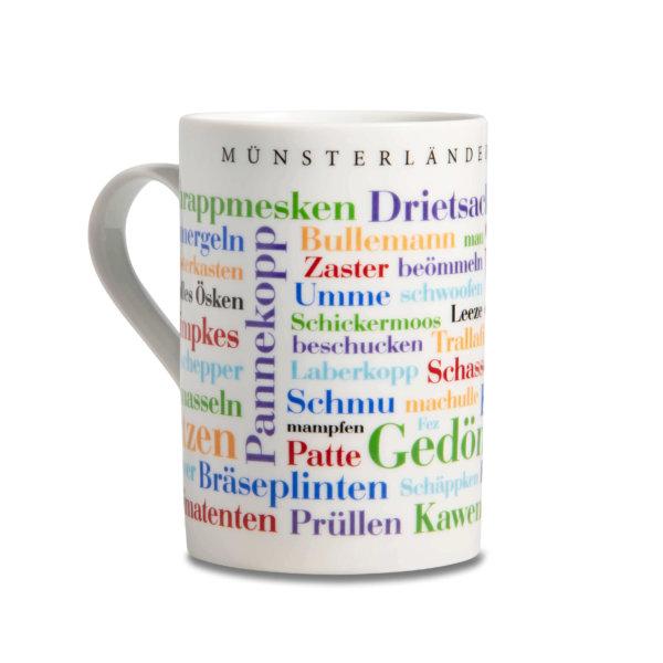 Die Kaffeetasse Münsterländer Wörtern.