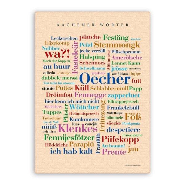 Leinwand Aachener Wörter Keilrahmen.
