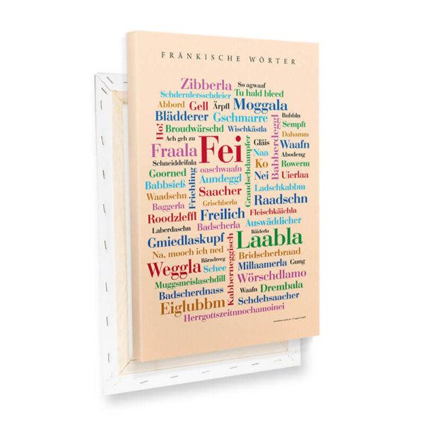 Leinwand Fränkische Wörter Keilrahmen.