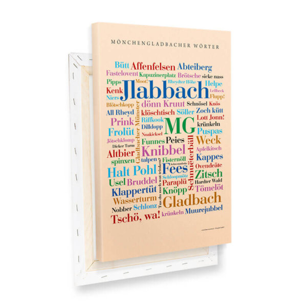 Leinwand Mönchengladbacher Wörter - Keilrahmen.