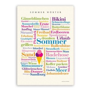 Leinwand Sommer Wörter.