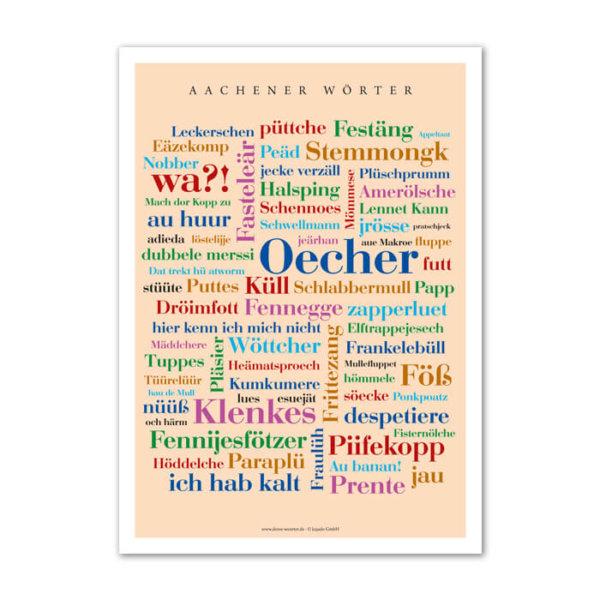 Das Poster mit den schönsten Begriffen aus Aachen.