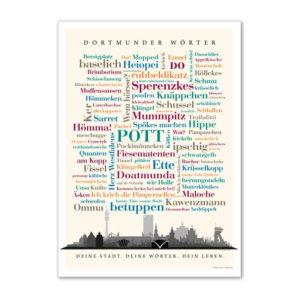 Das Poster mit den schönsten Wörtern aus der Stadt Dortmund.