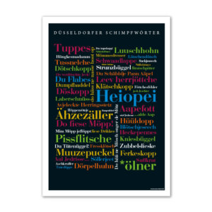 Das Poster mit den lustigsten Schimpfwörtern aus Düsseldorf.