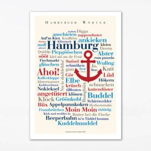 Poster mit den Hamburger Wörtern als Geschenk für echte Hanseaten.