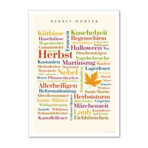 Die schönsten und kreativsten Wörter der Jahreszeit Herbst auf einem Poster vereint.