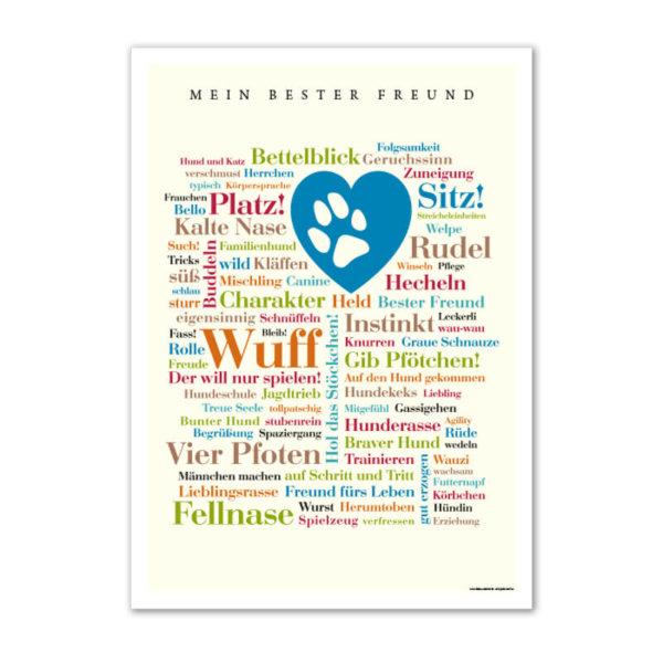 """Das Poster """"Mein bester Freund"""" ist ein tolles Geschenk für Hundebesitzer, Hundefreunde, Herrchen und Frauchen."""