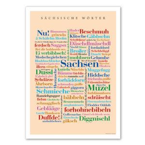 Das Poster mit den Wörtern aus Sachsen.