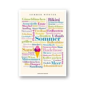 """Das farbenfrohe Poster mit den schönsten """"Sommer Wörtern"""" bringt den Sommer zu Ihnen nach Hause."""
