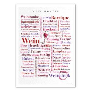 Das Poster mit den Wein Wörtern.