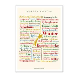 Die schönsten und kreativsten Wörter der kalten Jahreszeit Winter auf einem Poster vereint.