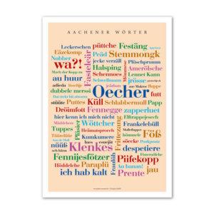 Postkarte (DIN A6) mit Motiv Aachener Wörter.
