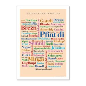 Postkarte (DIN A6) mit Motiv Bayerische Wörter.