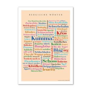 Postkarte (DIN A6) mit Motiv Bergische Wörter.