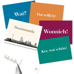 Die schönsten Dortmunder Wörter in einem Postkarten-MIx als 5er-Pack.