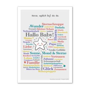 Postkarte (DIN A6) mit Motiv Hallo Baby.