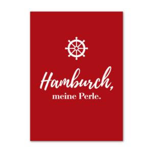 Postkarte (DIN A6) mit Motiv Hamburch meine Perle.