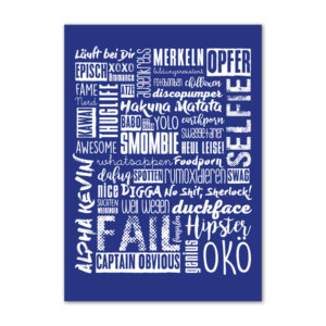 Postkarte Jugendwörter in dunkelblau.