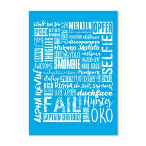 Postkarte Jugendwörter in blau.