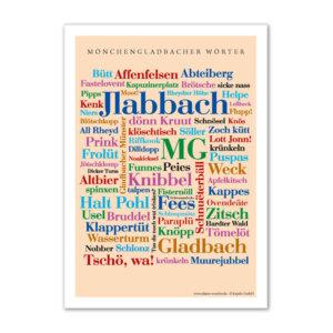 Postkarte (DIN A6) mit Motiv Mönchengladbacher Wörter.