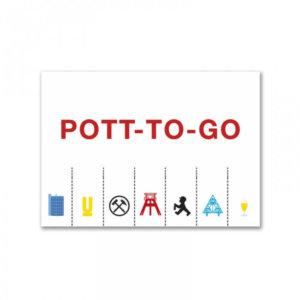 Die Postkarte Pott-to-go für Grüße aus dem Ruhrgebiet.
