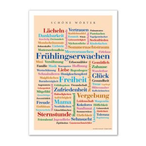 Postkarte Schöne Wörter im Format DIN A6.