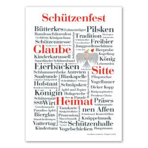 Die Postkarte mit den Wörtern vom Schützenfest.