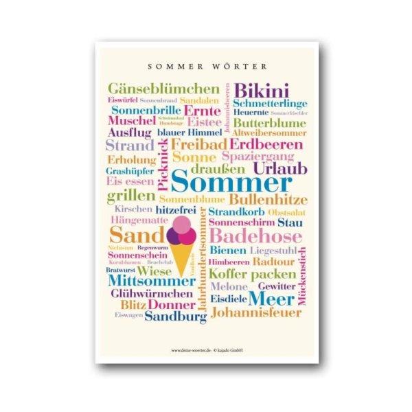 Die Postkarte mit erfrischenden Sommer Wörtern.