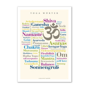 Postkarte (DIN A6) mit Motiv Yoga Wörter.