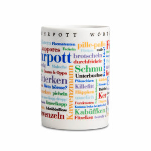 Kaffeebecher Ruhrpott Wörter frontal.