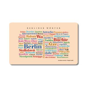 Frühstücksbrettchen mit den schönsten Begriffen aus Berlin.
