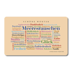 Die schönsten Wörter auf einem liebevoll gestalteten Brettchen.