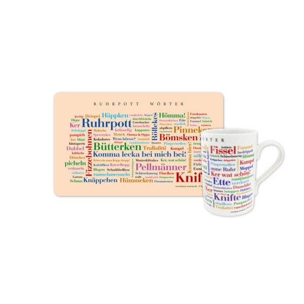 Frühstücksbrettchen und Kaffeebecher Ruhrpott Wörter in einem Set.