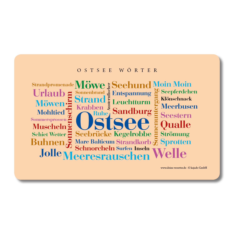Frühstücksbrettchen Ostsee Wörter.