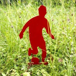 Das Fußball-Männchen als Dekoration für den Garten.