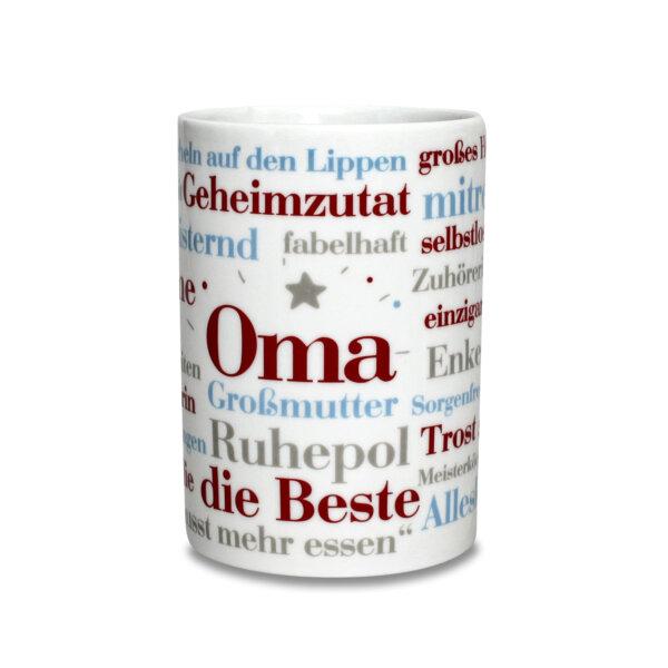 Der Kaffeebecher mit den schönsten Wörtern einer Oma.