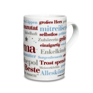 Tasse mit den Oma Wörtern.