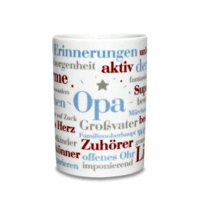 Der Kaffeebecher Opa Wörter als Geschenkidee.