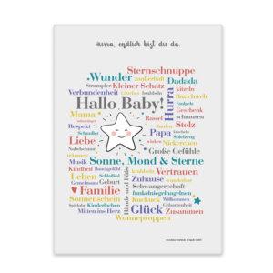 Leinwand Hallo Baby Frontansicht