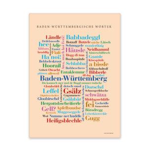 Die schönsten Wörter Baden-Württembergs gedruckt auf hochwertigem Leinen.