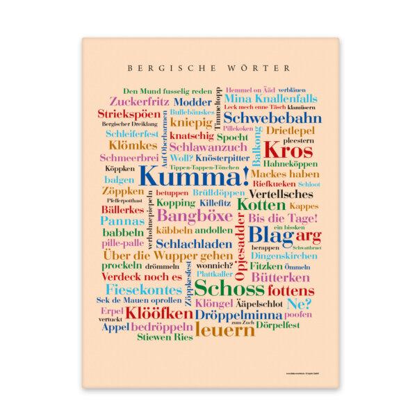 Leinwand Bergische Wörter Keilrahmen - Frontansicht