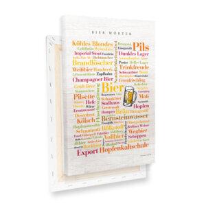 Leinwand Bier Wörter mit Keilrahmen - Profilansicht