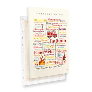Leinwand Feuerwehr Wörter Keilrahmen Profilansicht