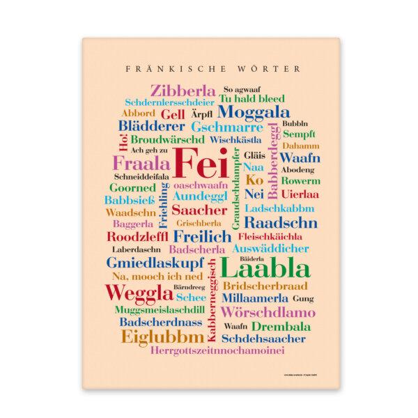 Leinwand Fränkische Wörter Frontansicht