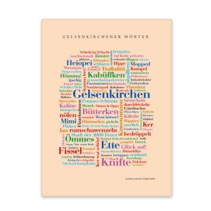 Leinwand mit den schönsten Wörtern der Stadt Gelsenkirchen.